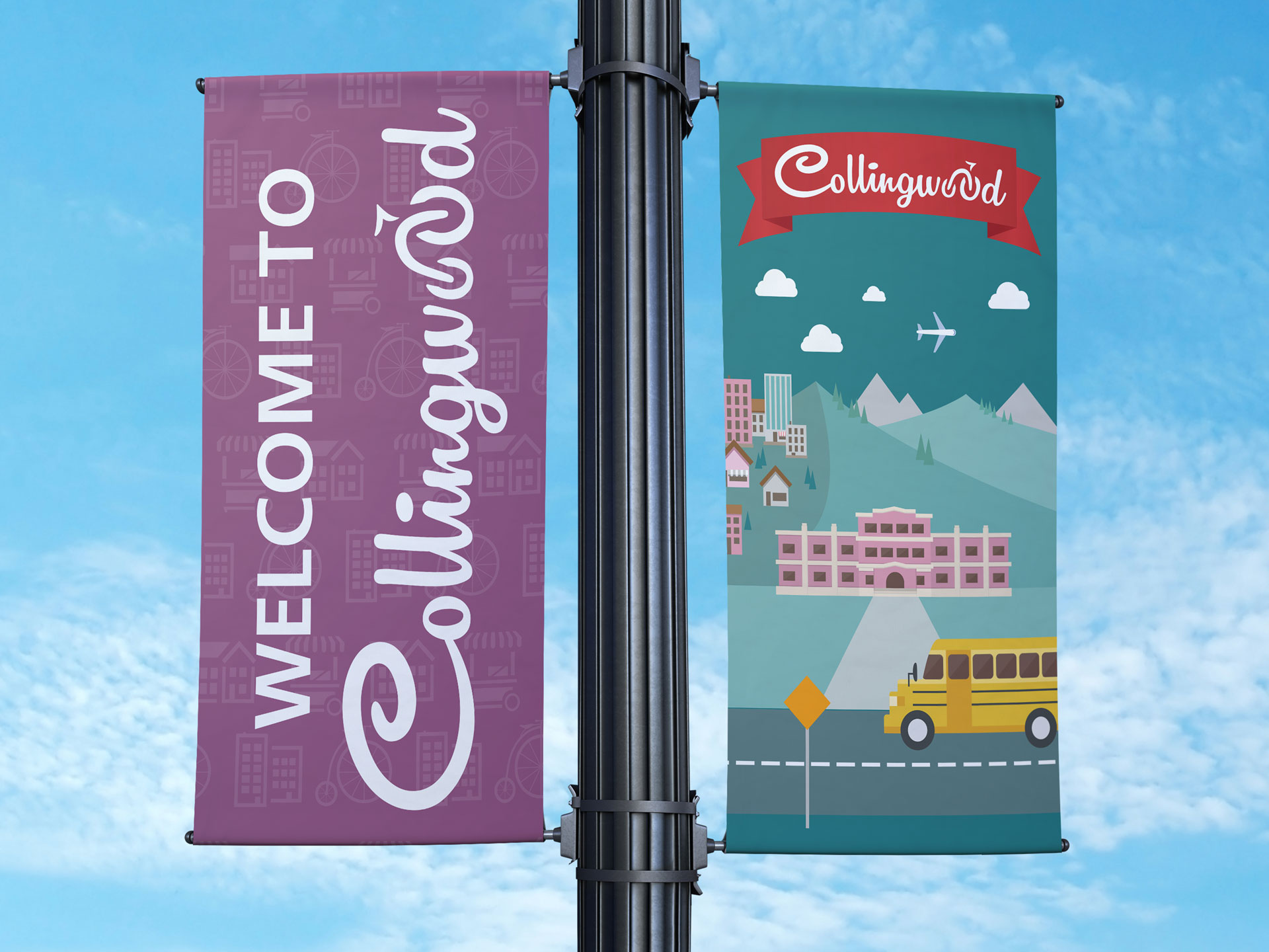 Collingwood BIA street Banner Vancouver Graphic Design by Gustavo Chams